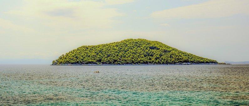 Island, Hazy, Morning, Landscape, Nature, Sea, Haze