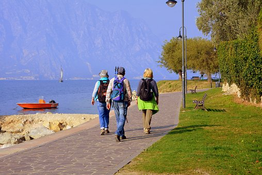 Tourists, Lake, Walk, Backpack, Garda, Malcesine, Italy