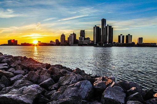 Sunset, Riverside, Rock, Long Exposure, Canada
