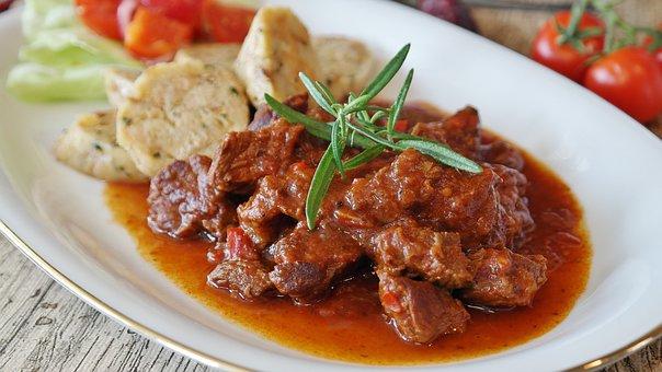 Goulash, Meat, Beef, Dumpling, Pretzel Dumplings, Court