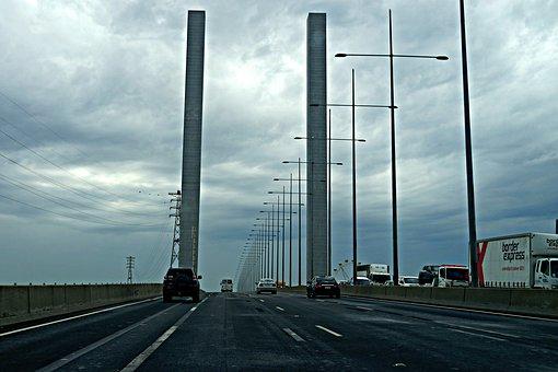 Bridge, 2 Pillars, Highway, Transport, Melbourne City