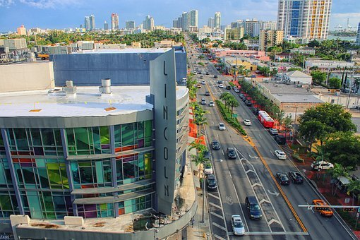 Miami Beach, Street, Florida, Sunny, Traffic, Cars