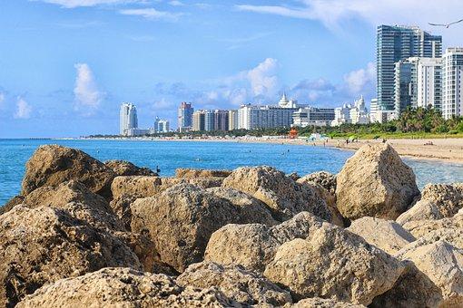 Ocean, Atlantic, Miami Beach, Sand, Hotel, Skyline