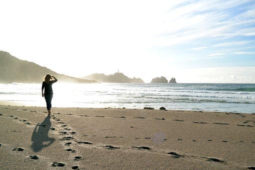 Walk On The Beach, Sand Beach, Rock, Sea, Footprints