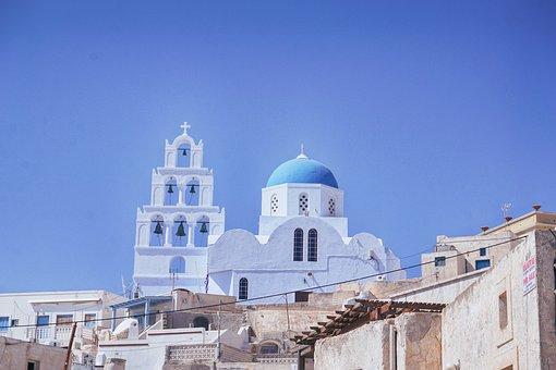 Travel, Greece, Santorini, Cyan Light Blue