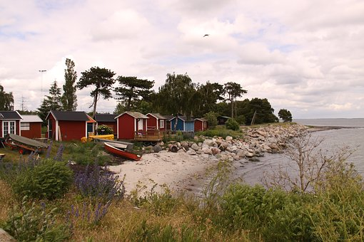 Fishing Huts, Sheds, Beach, Sea, Shore, Sweden