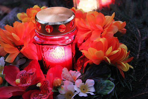 Candle, Artificial Flowers, The Feast Of The Dead