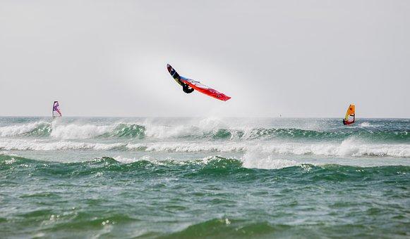 Windsurfing, Back Loop, Waves, Jump