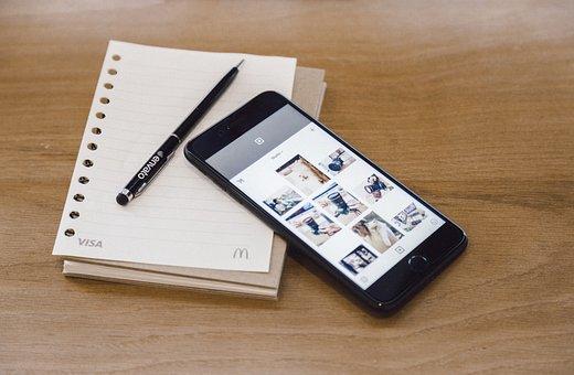 Desk, Work, Close-up, Display, Electronics, Iphone 6