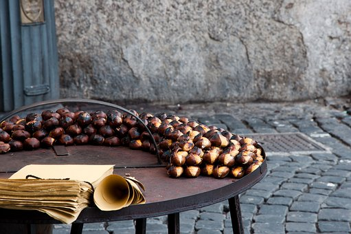 Chestnuts, Roasted Chestnuts, Autumn, Stall, Tradition