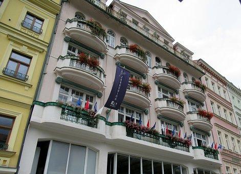 Karlovy Vary, Hotel, Balcony, Flower