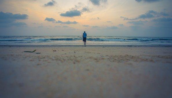 Beach, Walk, Girl, Sky, Blue, Water, Sand, Vacation