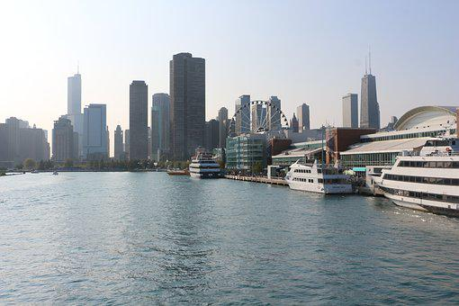 Chicago, City, Landscape, Boats
