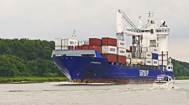 North America, Container Freighter, Powerboat, Bow Wave