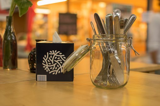 Cutlery, Glass, Box, Arranged, Knife, Jar, Napkins