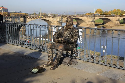 Dresden, Live Statue, Germany