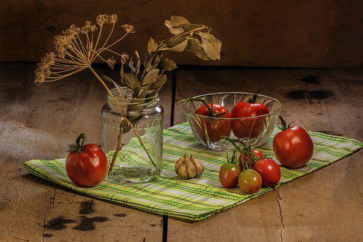 Tomatoes, Food, Ripe Tomatoes, Garlic, Dill, Bay Leaf