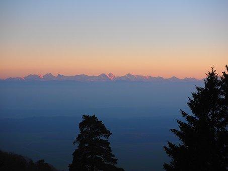 Alpine, Alpine Panorama, Alpenglühen, Mountains