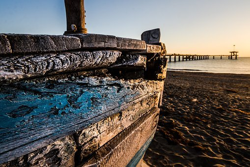 Old Wooden Boat At Sunrise, Wooden Boat, Fishing Boat