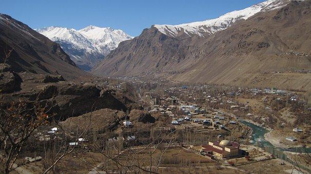 City, Khorog, Tajiksitan, Pamir, Mountains, Snow