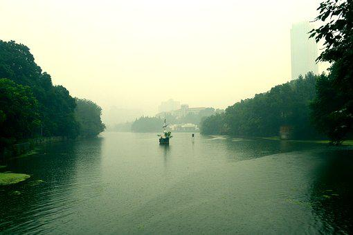 Summer, Anhui Hefei, Amidst The Hazy, River