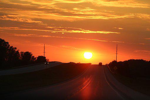 By Sunsets, Sol, Road, Trip