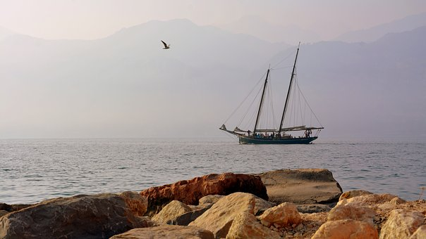 Sailing Ship, Scoglio, Lake, Seagull, Garda, Sails