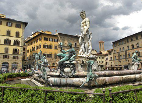 Florence, Fountain, Italy, Italian, Travel, Tuscany