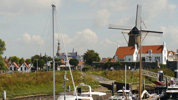 North Sea, Zeeland, Marina, Veere, Wind Mill