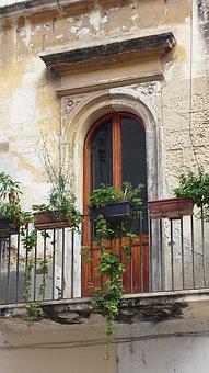 Italy, Balcony, Door, Plants, Chipped Paint