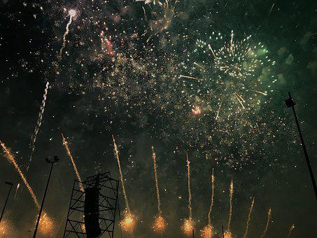 Castle, Fireworks, Lights, Pyrotechnics, Rays, Light