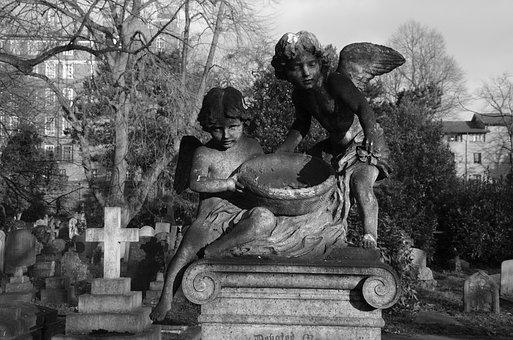 Cherubs, Monochrome, Grave, Angelic, Spooky, Religion