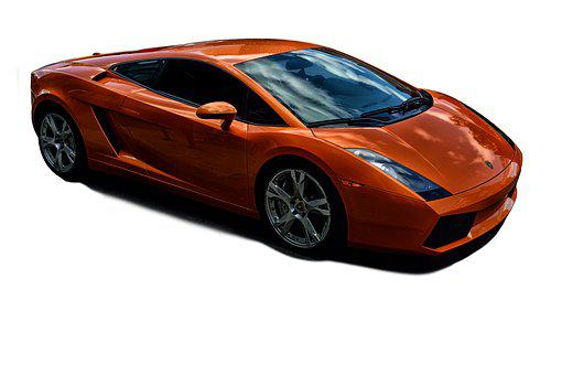 Tangerine Lamborghini, No Background, Cropped Out