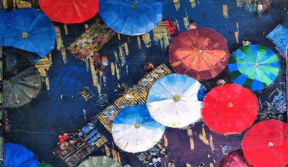 Myanmar, Burma, Art, Umbrellas, Street, Scene