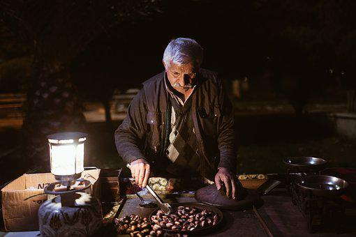Dealer, Old Man, The Peddler, Chestnut, Sell Chestnuts