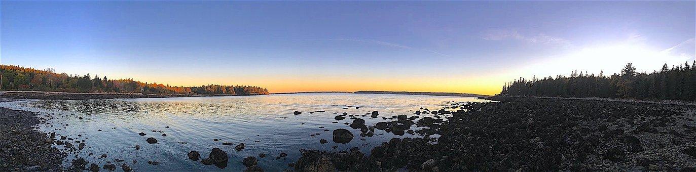 Sunset, Shore, Rocks, Water, Sea, Ocean, Beach