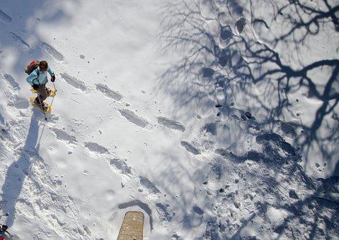 Snow Shoe Hike, Winter, Traces, Snow Tramp, Reprint