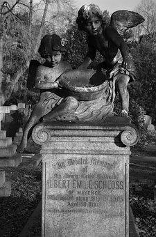 Monochrome, Angel, Spooky, Cherub, Cemetery, London