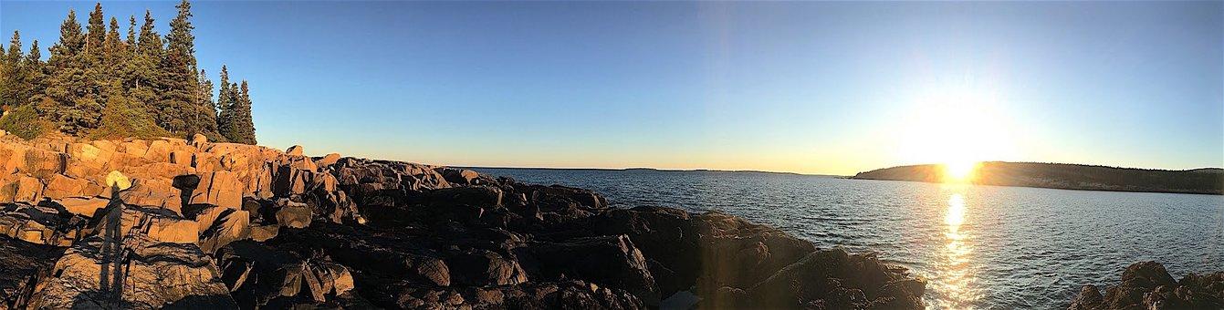 Sunset, Rocks, Trees, Water, Sea, Ocean, Beach