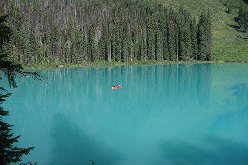 Lake, Turquoise, Water, Canoeing, Shadow, Trees, Forest