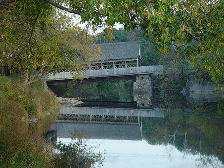 Covered Bridge, Stream, Creek, Vermont, Bridge, Covered