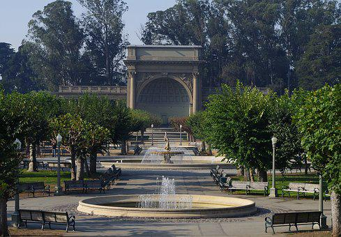 Park, Stage, Fountain, Water, Theater, Open Air