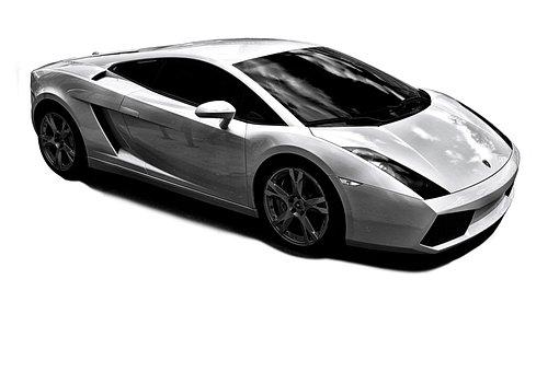 White Lamborghini, No Background, Cropped Out, Shape