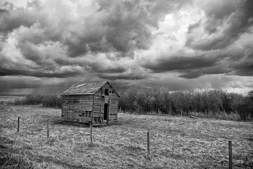 Storm, B W, Weather, Farm Building, Black, Dark