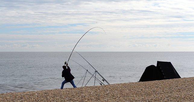 Angler, Fisherman, Fishing, Sea, Cast, Rod, Bend, Beach