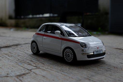 Car, Toy, White, Side View, Hatchback, City Car, Fun