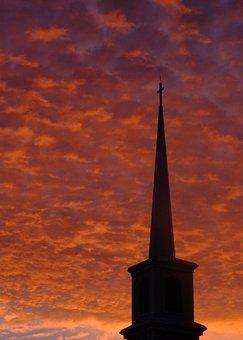 Silhouette, Church Steeple, Church, Steeple