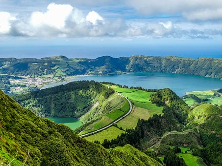 Nature, Landscape, Pond, Volcano, Crater, Water, Azores