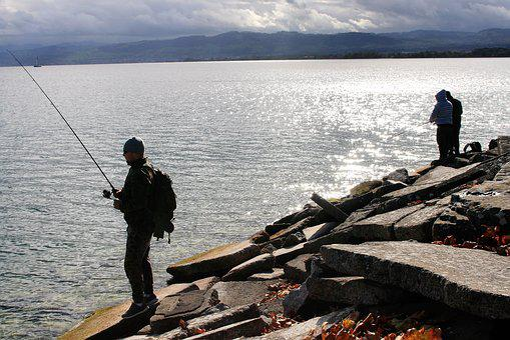 Fishing, Cloudy, Peace Of Mind, Lake, Rock, Beach