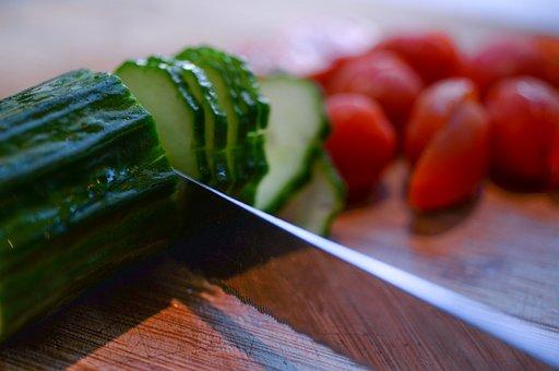 Tomato, Knife, Cucumber, Food, Vegetable, Dinner, Meal